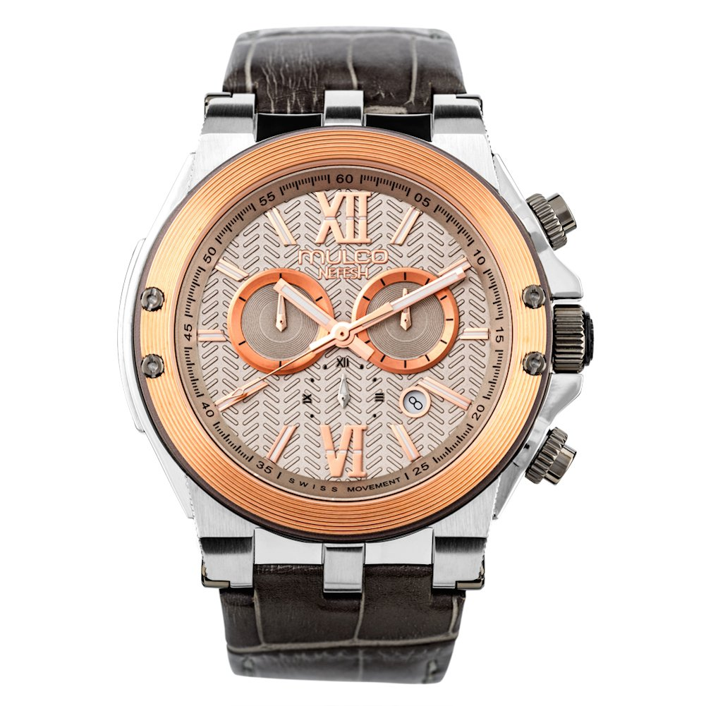 Mulco Nefesh Iconic Quartz Swiss Chronograph Movement Unisex Watch Sundial Display with Rose Gold and Rose Gold Accents Leather Watch Band Water Resistant Stainless Steel Watch