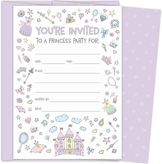 Amazon.com: Invitaciones de fiesta de princesa Koko Paper Co ...