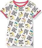 JoJo Siwa Girls Peace Love Dance All Over Print Ringer Tee Short Sleeve T-Shirt - White