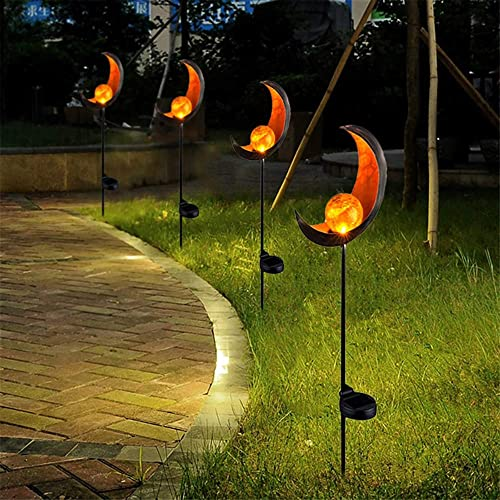 Garden Solar Lights, FORNORM Pathway Outdoor Moon Crackle Glass Globe Stake Metal Lights,Waterproof Warm White LED for Lawn,Patio or Courtyard