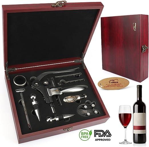 Compra Kit para abrir botellas de vino en caja de madera de 9 piezas, set de accesorios para cerveza / vino para regalo marca Yobasa en Amazon.es