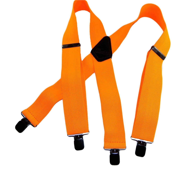 Holdup Brand Hunter Orange 2'' wide Outdoorsman X-back Suspenders with Jumbo Patented black No-slip Clips