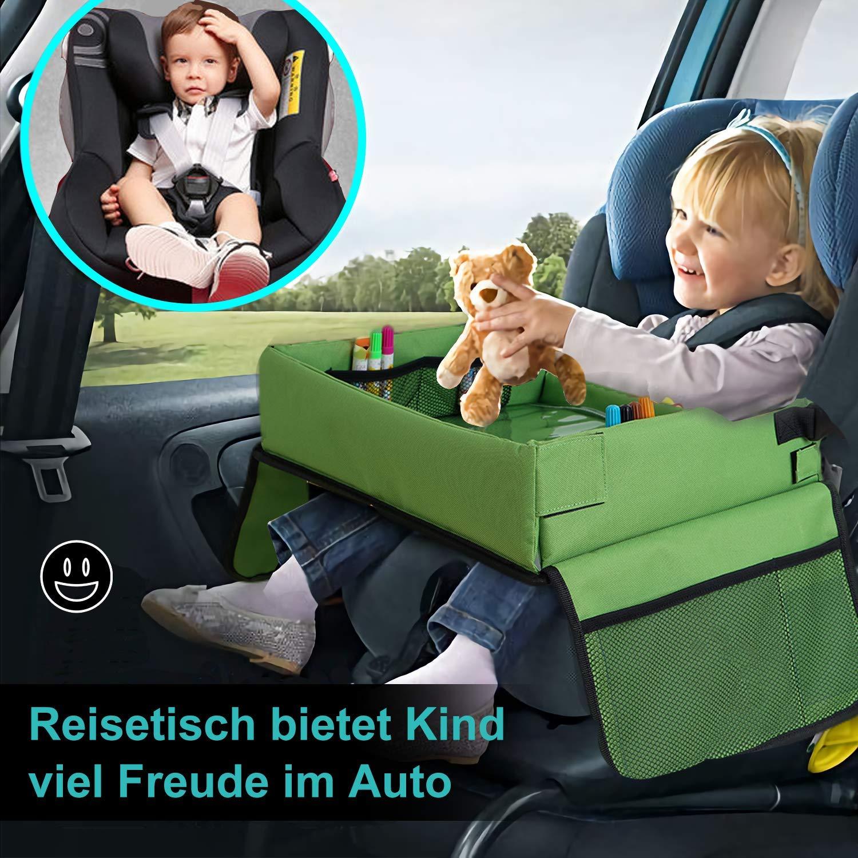 MUHOO Kinder Reisetisch Knietablett Spieltisch f/ür Autositz Auto-Spieltisch f/ür Kindersitz 100 St/ücke Bauspielzeuge 3 Holzpuzzle