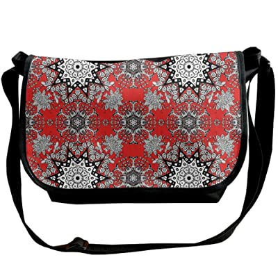 Lovebbag Tribal Ethnic Floral Swirls Leaves Lace Seem Hand Drawn Image Decorative Crossbody Messenger Bag