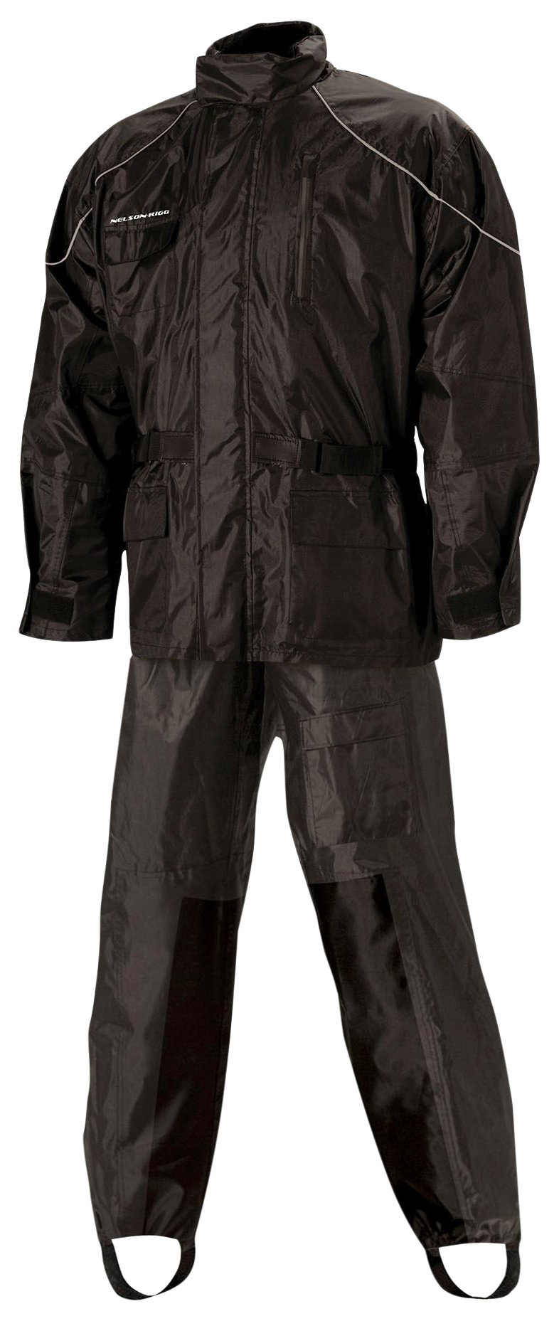 Nelson Rigg Unisex Adult AS-3000-BLK-01-SM Aston Motorcycle Rain Suit 2-Piece, (Black, Small)