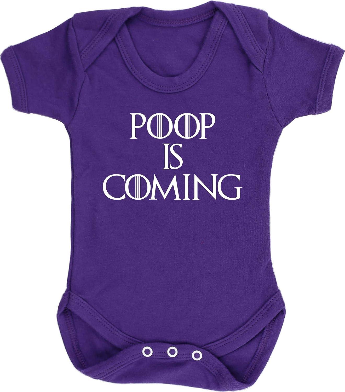 Boys Girls Short Sleeve Hippowarehouse Poop is Coming Baby Vest Bodysuit