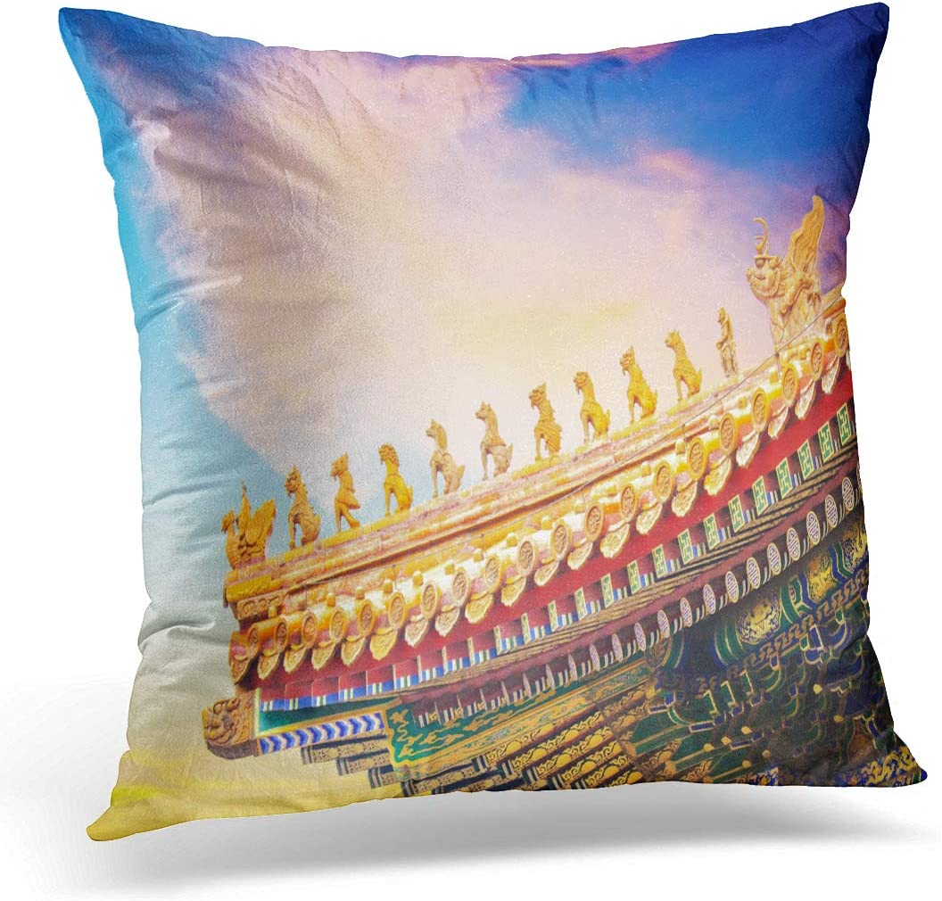 Amazon Com Emvency Throw Pillow Cover Roof Of The Hall Harmony At Forbidden City Beijing Decorative Pillow Case Home Decor Square 18 X 18 Pillowcase Home Kitchen