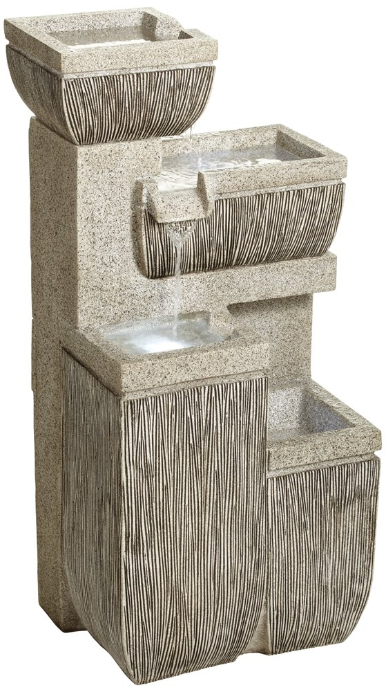 Alamere Square 31 3/4''H Tiered Outdoor LED Floor Fountain