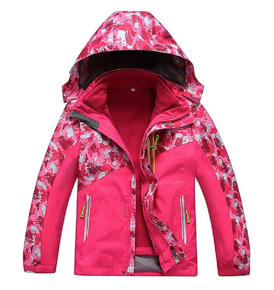 Valentina Boys Girls Outdoor Winter Two-Piece Coat 3-1 Children Thicken Velvet Detachable Warm Quilted Jacket Pink by Vinmin