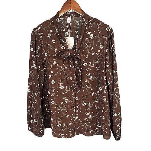 Honghu Camisa de flores Blusa Mujer