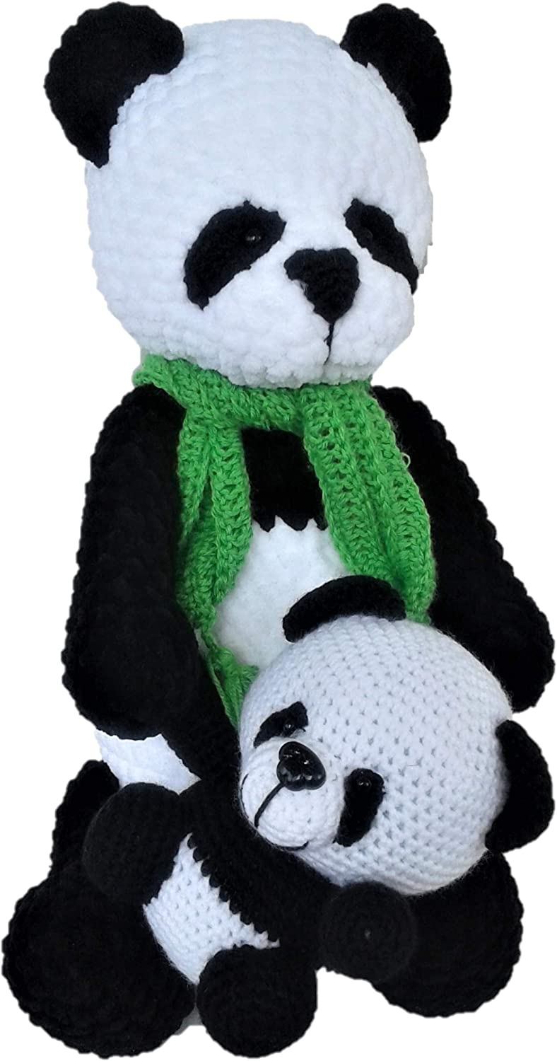 Soft Plush Panda with a Bear Teddy Bears. Panda Bear is a Gift to a Child or Friend Knitted Toy Amigurumi Hand Knitted Teddy Bear
