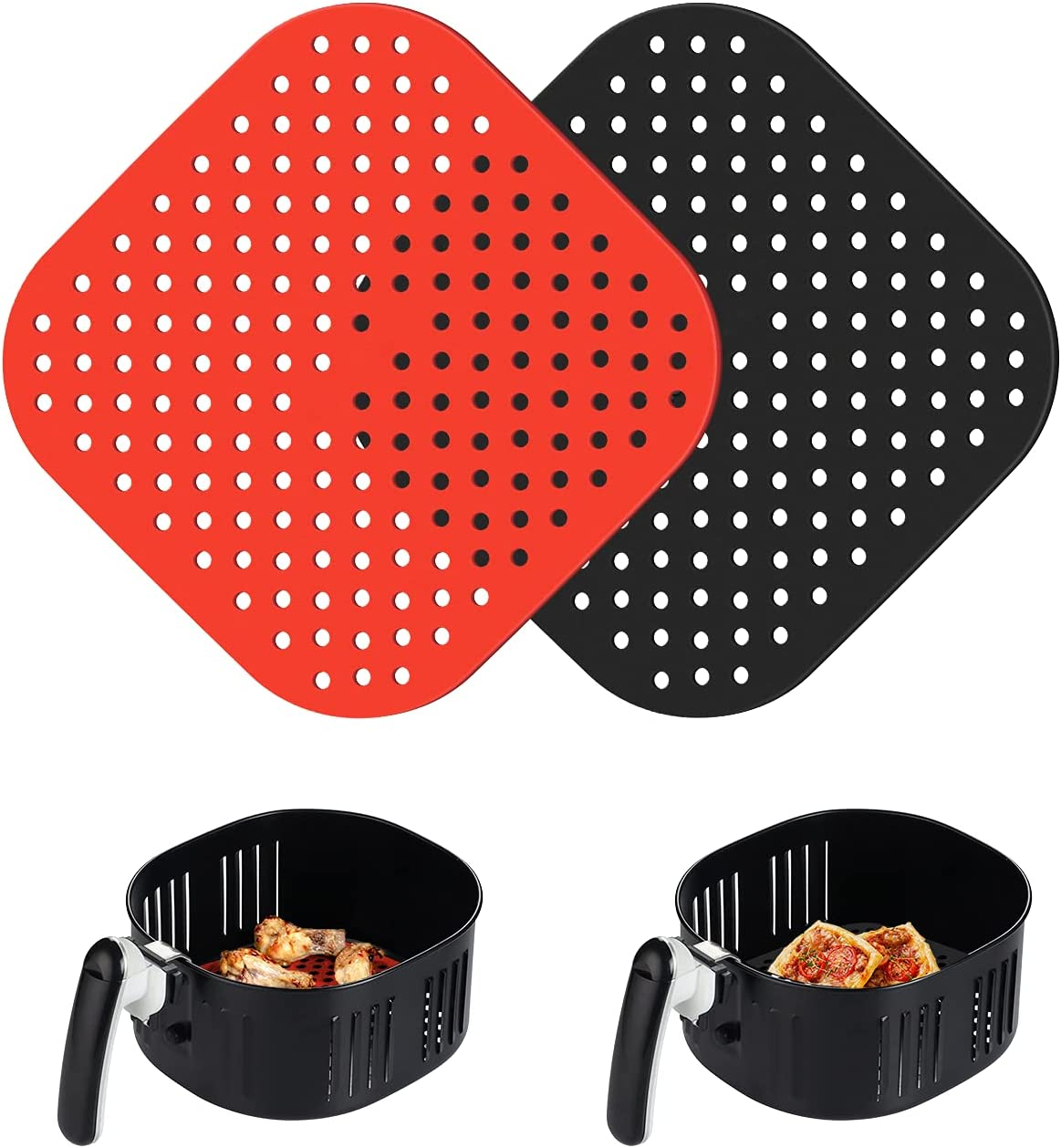 Thicker Version - Air Fryer Liners, Reusable and Heat Resistant, Air Fryer Basket Mats for COSORI, Philips, TaoTronices, Power XL, Innsky, COMFEE', NUWAVE and More, 8.5 Inch