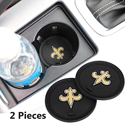 2 Pack 2.75 inch for New Orleans Saints Car Interior Accessories Anti Slip Cup Mat for All Vehicles (New Orleans Saints): Automotive