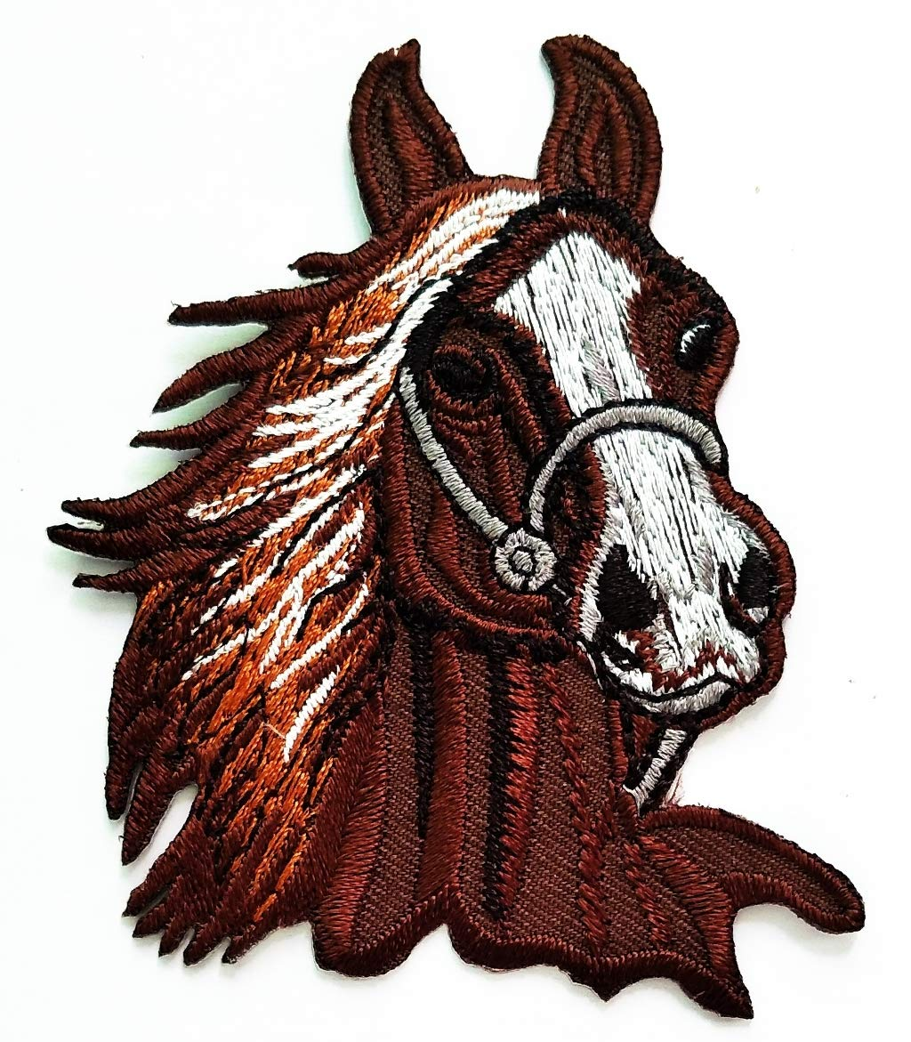 Nipitshop Patches Gray Head Horse Riding Farm Animal Cartoon Kids Patch Embroidered Iron On Patch for Clothes Backpacks T-Shirt Jeans Skirt Vests Scarf Hat Bag