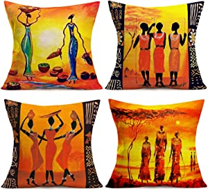 Aremetop Set of 4 Indian Ethnic Style Throw Pillow Covers Afro Sari Girl Dancing African Women Decorative Cushion Cover Tribe Lady Home Decor Square 18x18 Inches Pillowcases for Sofa Couch Bedroom