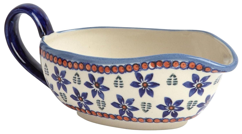 "Polish Pottery Blue Floral Leaves Gravy Boat, Ceramika Wiza Boleslawiec, 8.25""L x 3.5""W x 3""H (12-oz. Capacity) Boleslawiec Polish Pottery"
