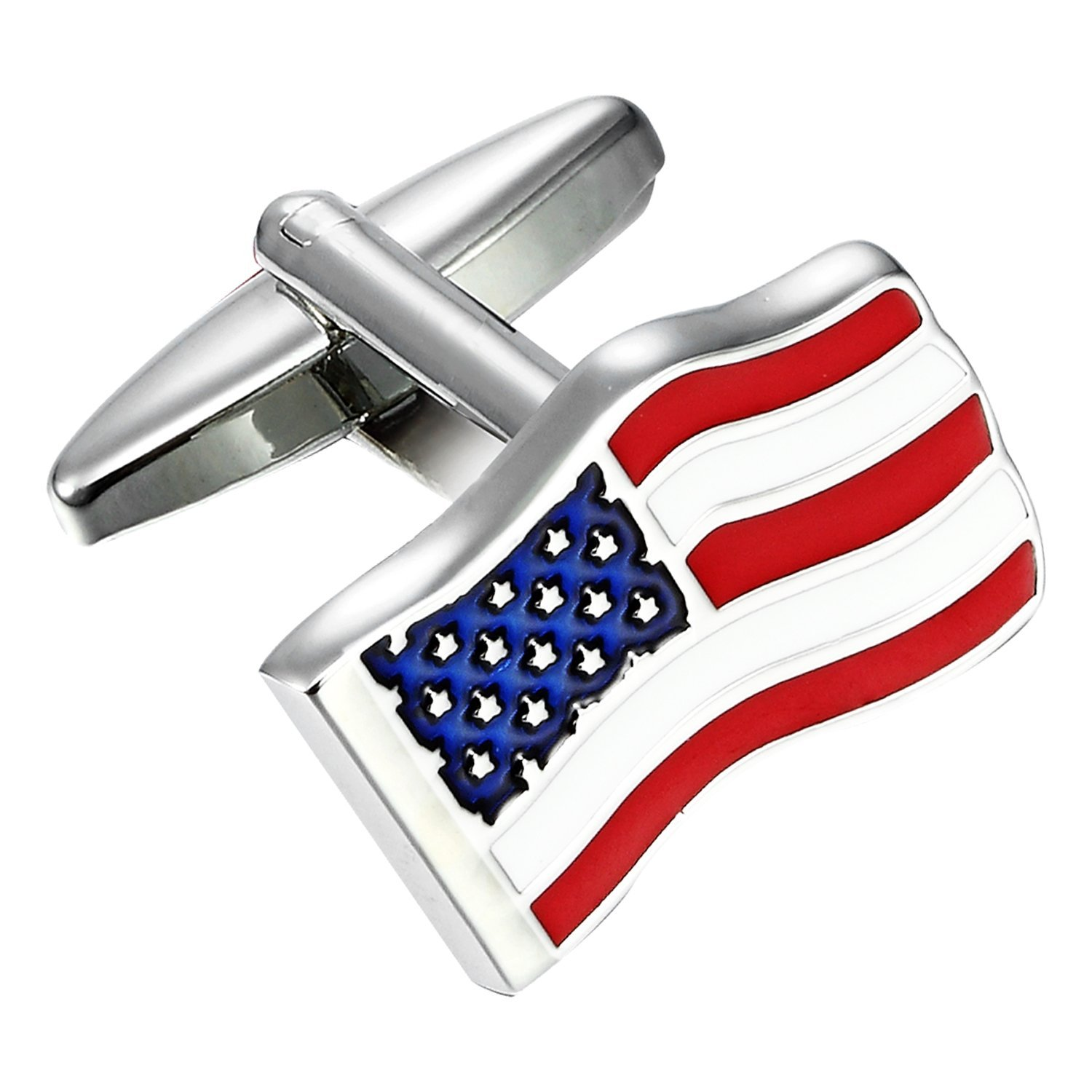 Urban Jewelry Loyal Patriot Stainless Steel USA Flag Men's Cufflinks (Red, Blue, White, Silver) by Urban Jewelry (Image #1)