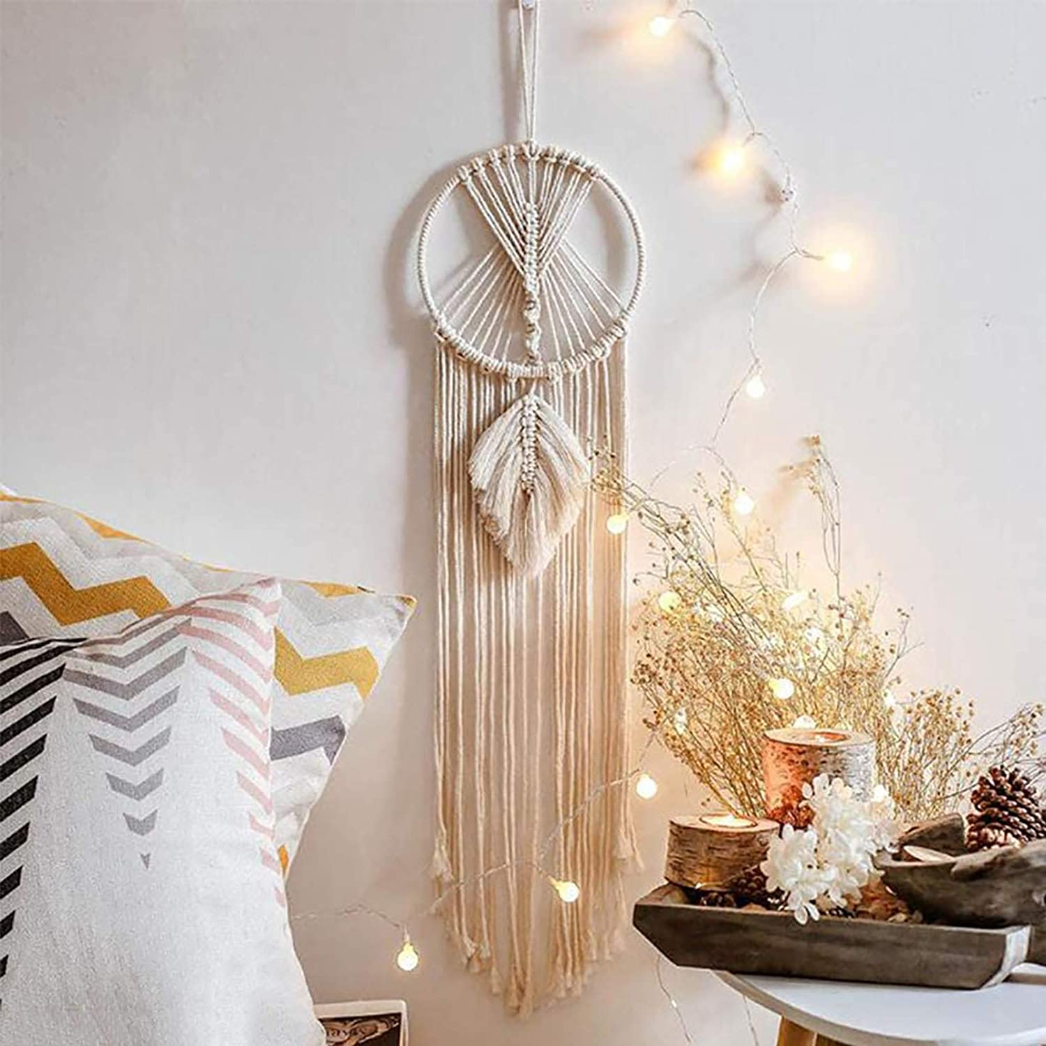 Enmolove Macrame Dream Catcher Wall Decor Handmade Bohemian Home Decor Tassel Wall Hangings Wedding Ornament (Geometric)