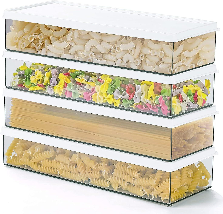 BUYIT Pasta Storage Containers Set of 4 Transparent PVC BPA-Free Kitchen Pantry Organization Pasta Canister Set Storing Long Spaghetti Horizontally Rectangular Spaghetti Keeper Box with Airtight Lids