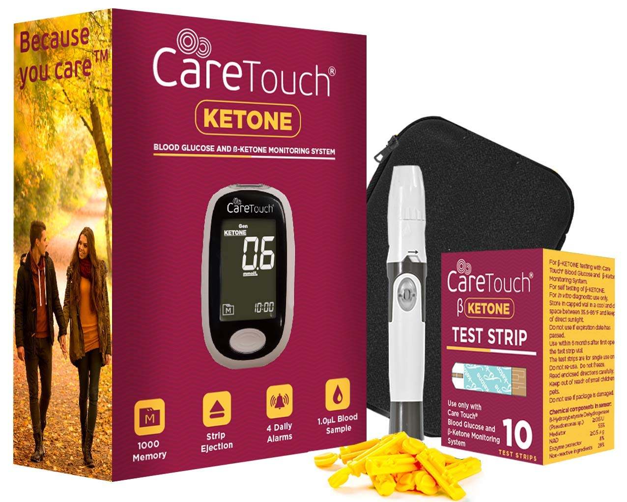 Care Touch Ketone Testing Kit - Ketone Meter w Strip Ejection, 10 Ketone Blood Test Strips, 10 Lancets, Lancing Device, Carrying Case for Diabetics and Ketogenic, Paleo, Atkins Diet by Care Touch