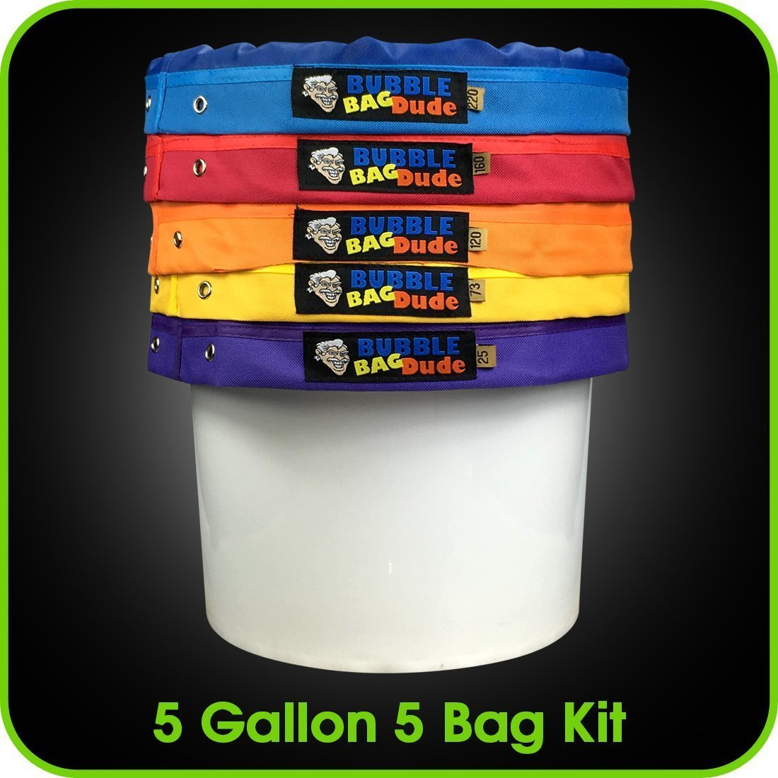 BUBBLEBAGDUDE Bubble Bags 5 Gallon 5 Bag Set - Herbal Ice Bubble Bag Essence Extractor Kit - Comes with Pressing Screen and Storage Bag David Wilson Inc. BBDBIB02