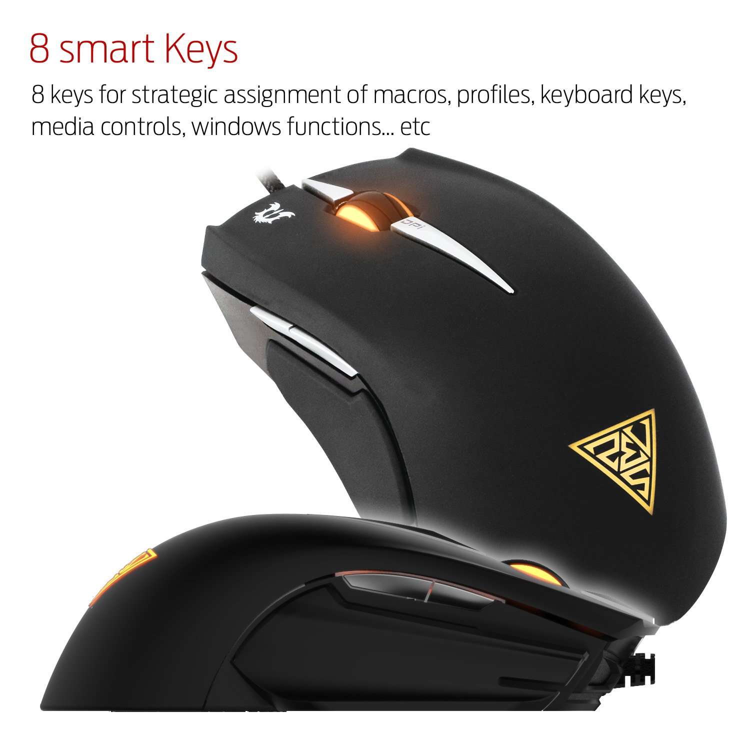 GAMDIAS Erebos GMS7500 Optical MOBA Gaming Mouse, 3 Set Ambidextrous  Adjustable Side Panels Weight System, 7 Programmable Buttons, 8200 DPI for PC by GAMDIAS (Image #5)