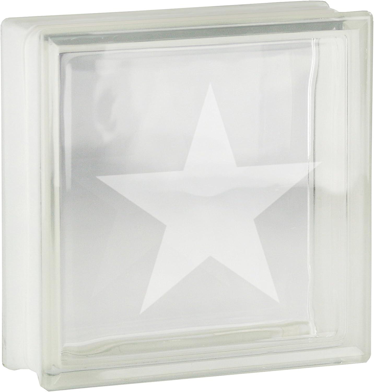 1 St/ück Glasbaustein//Glasstein Vollsicht Transparent mit Motiv Stern 19x19x8 cm