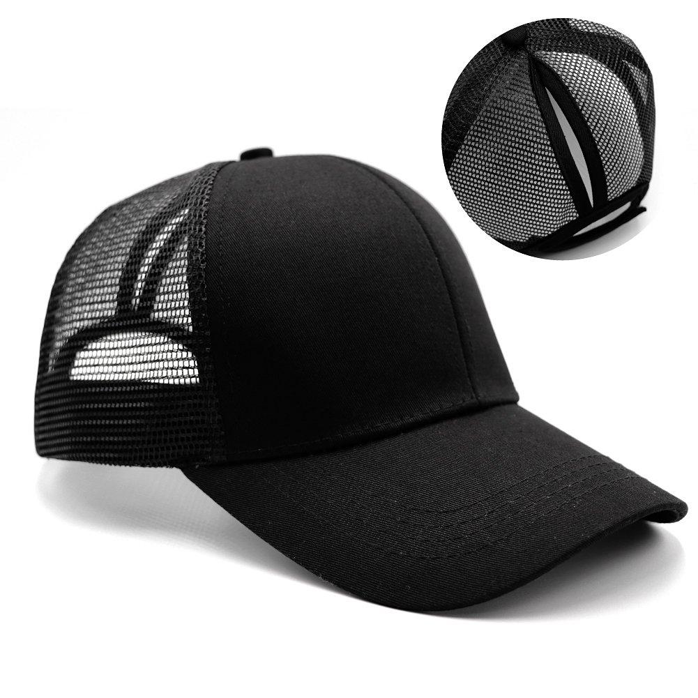 Womens Ponytail Messy High Buns Trucker Ponycaps Plain Baseball Visor Cap  Dad Hat Adjustable Snapback - 43227-121769   Baseball Caps   Clothing b1ed920d8b59