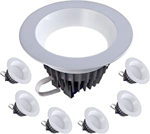 """6"""" Inch LED Downlight 18W=(120W Equivalent) 120V-277V; 1500 Lumens; Dimmable; 50,000 Life Hours; Wet Location Rated; Fits 6"""" Inch Recessed Can; UL/Energy Star; (4000K- 6 Pack)"""