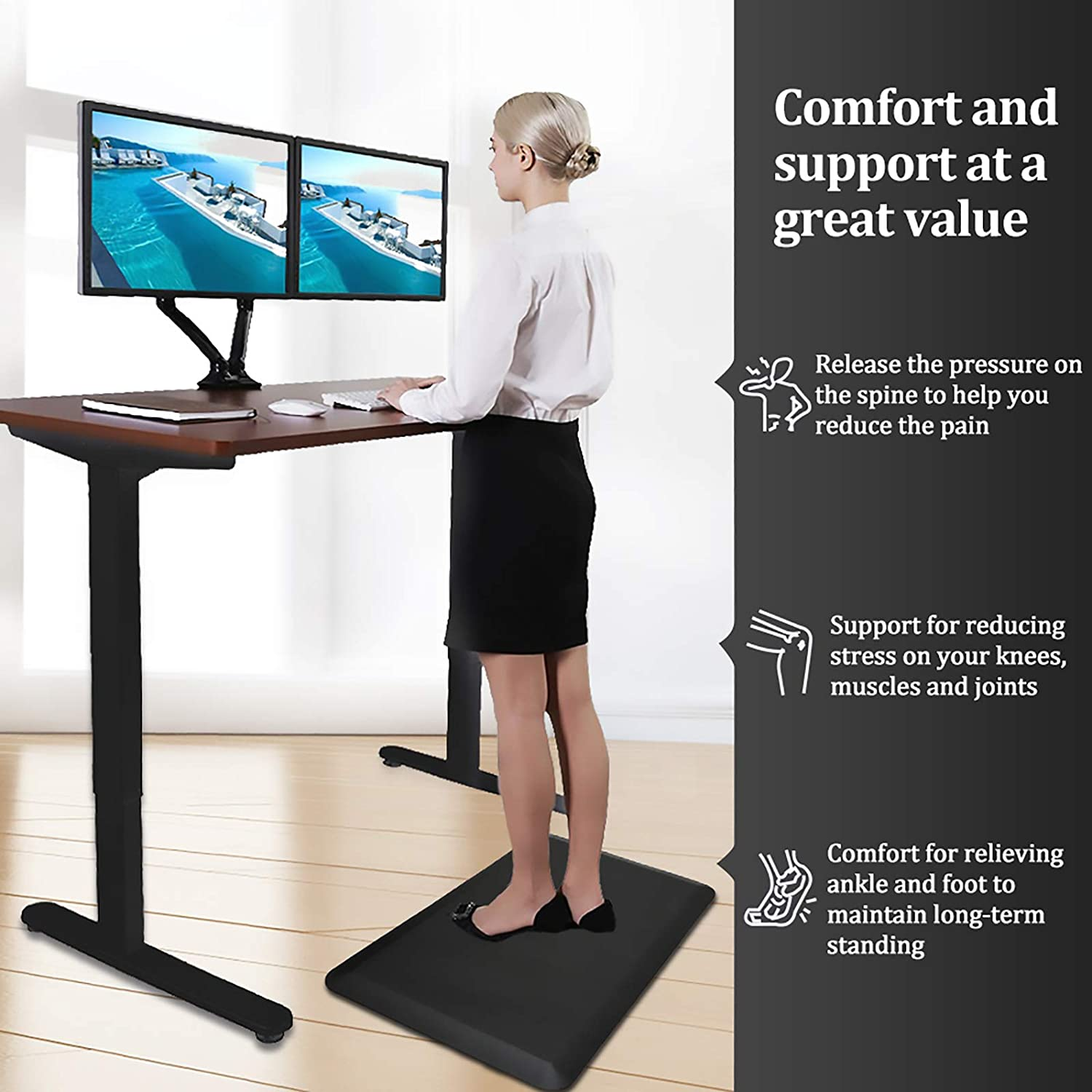 """Color&Geometry Anti Fatigue Floor Comfort Mat 3/4 Inch Thick 20""""32"""" Perfect for Standing Desks, Kitchen Sink, Stove, Dishwasher, Countertop, office or Garage, Black: Kitchen & Dining"""