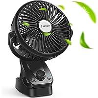 Ventilador USB - Mini Ventilador Portatil Recargable Ventilador Clip Ventilación Natural de Refrigeración, 5200 mAh…