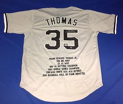 check out d0e15 2b0a3 Frank Thomas Signed Jersey - Grey Stat COA #Z36704 - PSA/DNA ...