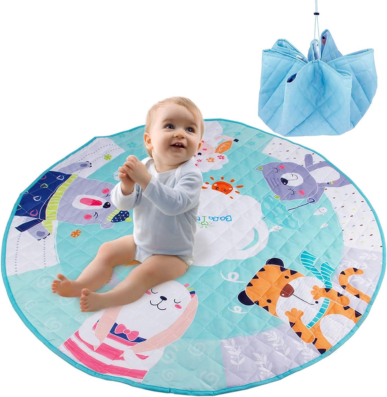 HB.YE Baby Play Mat Round Rug Portable Toys Storage Bag Crawling Mat for Nursery Kids 150 CM Giraffe