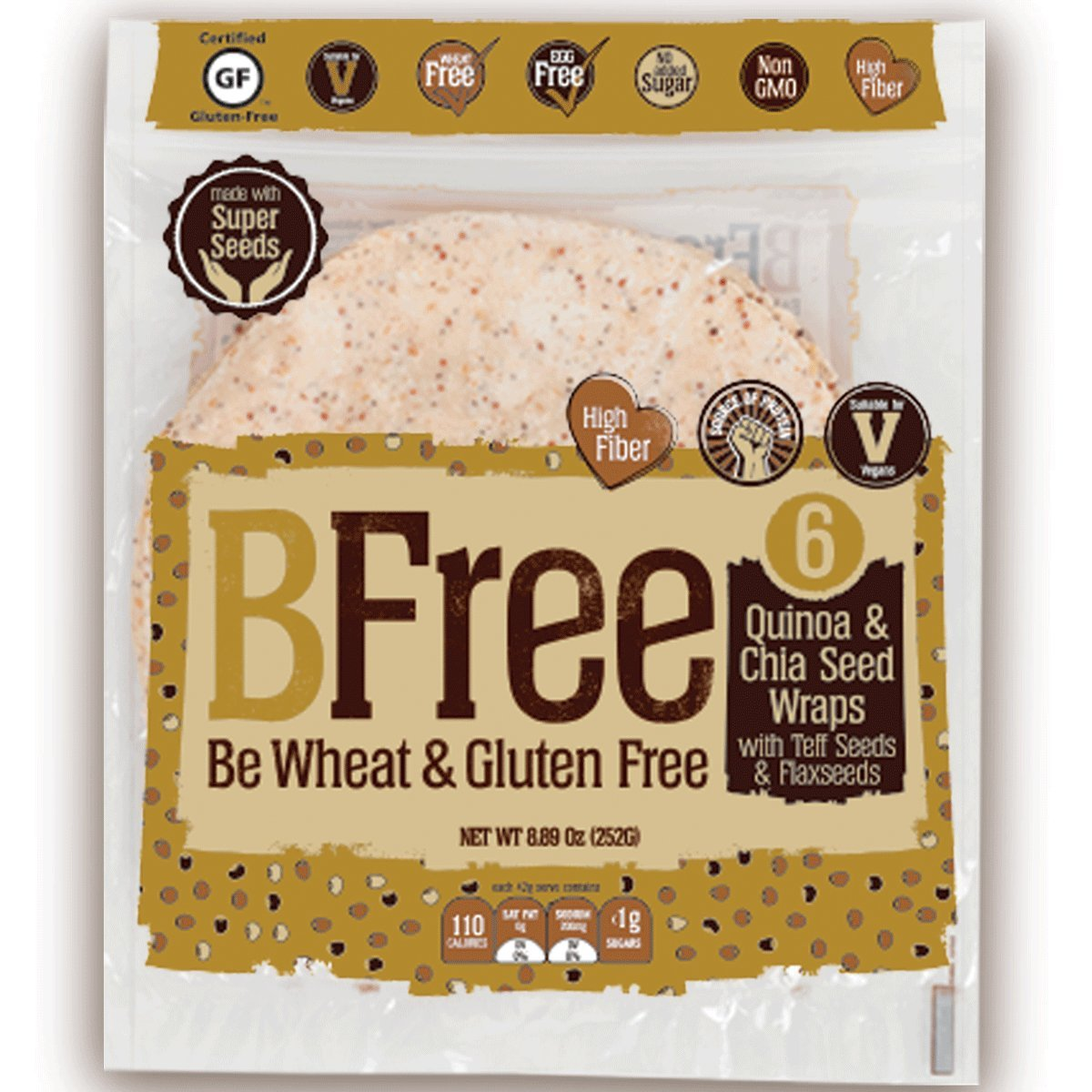 BFree Gluten Free Wheat Free Tortilla Wrap Quinoa and Chia Seed with Teff and Flaxseeds Dairy Free (Pack of 2) by Bfree