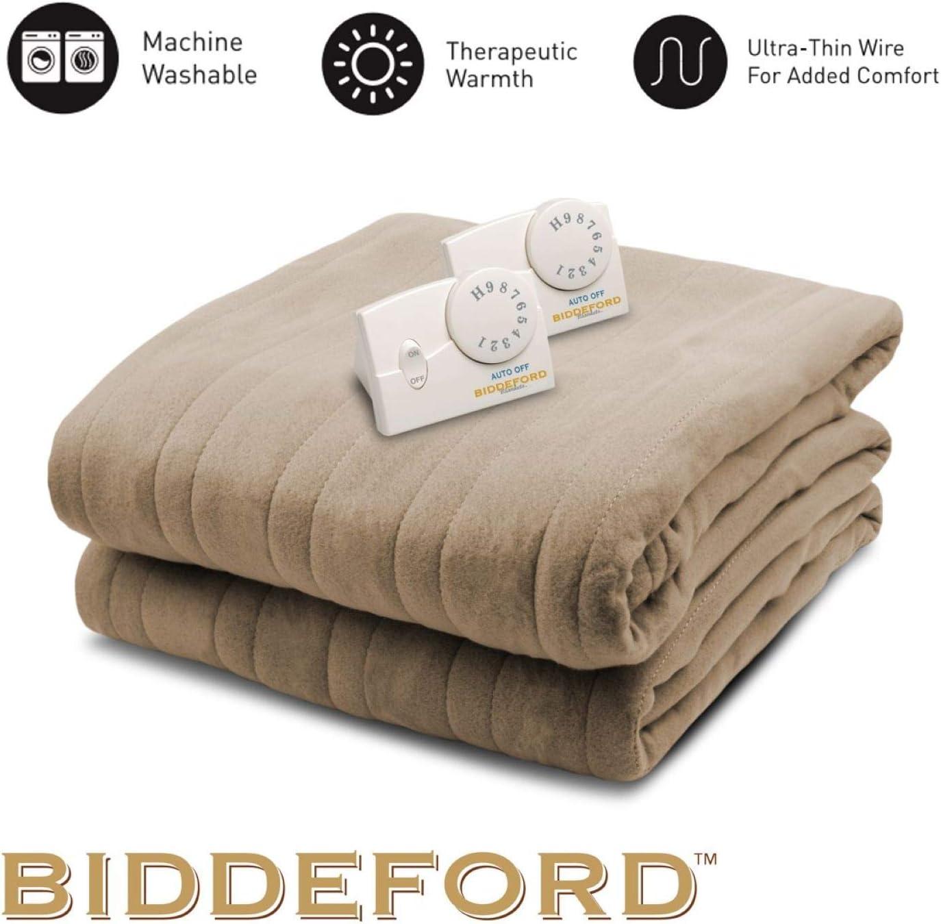 Amazon Com Biddeford Blankets Llc Comfort Knit Heated Blanket King Fawn Home Kitchen
