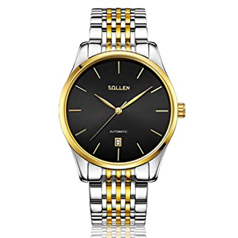 SOLLEN Mens Ultra Thin Slim Bezel Simple Stainelss Steel Automatic Wrist Watch SL-9008 (