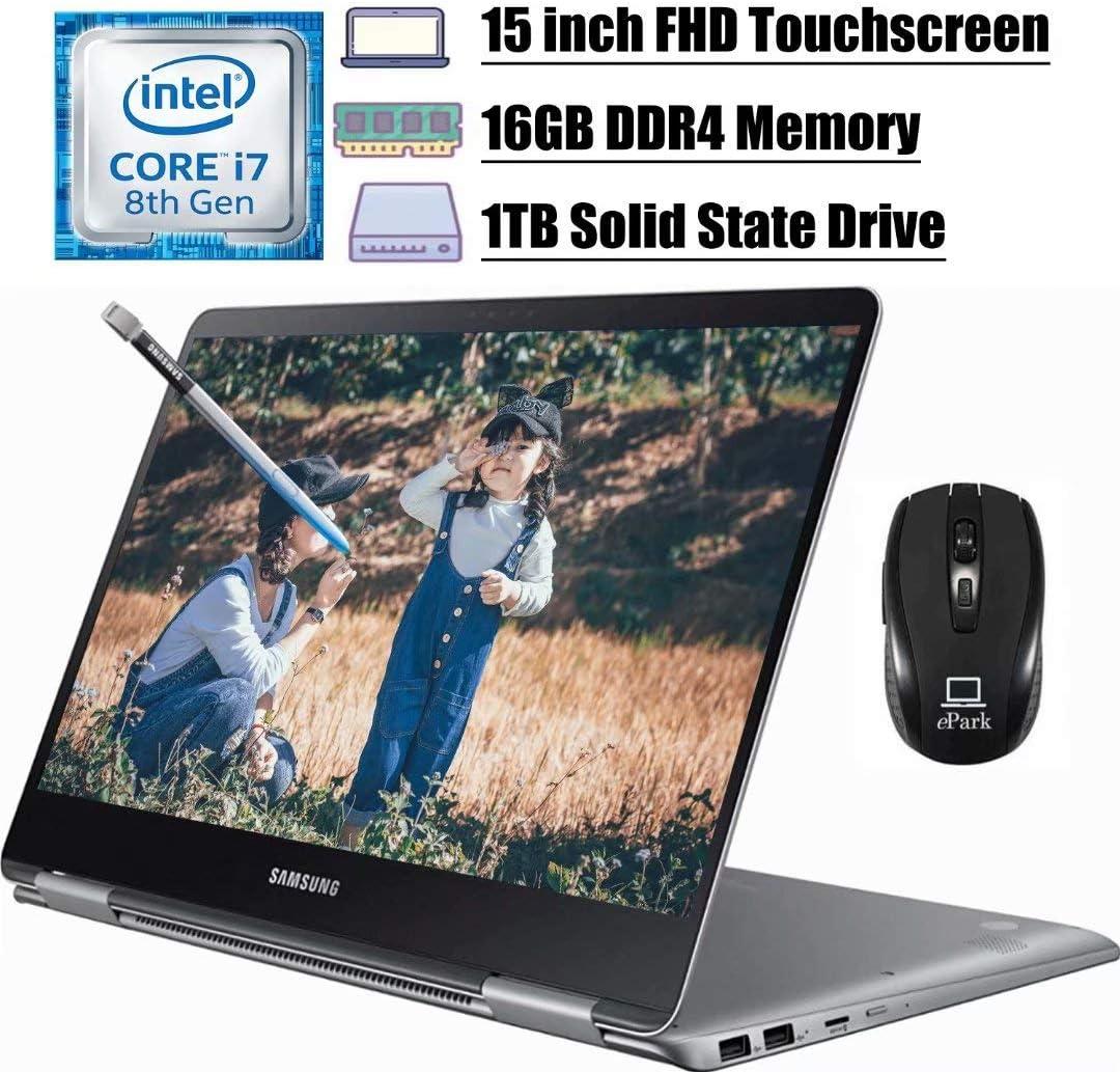 "2020 Newest Samsung Notebook 9 Pro 2 in 1 Laptop, 15"" FHD Touchscreen, 8th Gen Intel Quad-Core i7-8550U, 16GB DDR4 1TB SSD, 2GB AMD Radeon 540 BacklitKB USB-C Pen Win 10 + ePark Wireless Mouse"