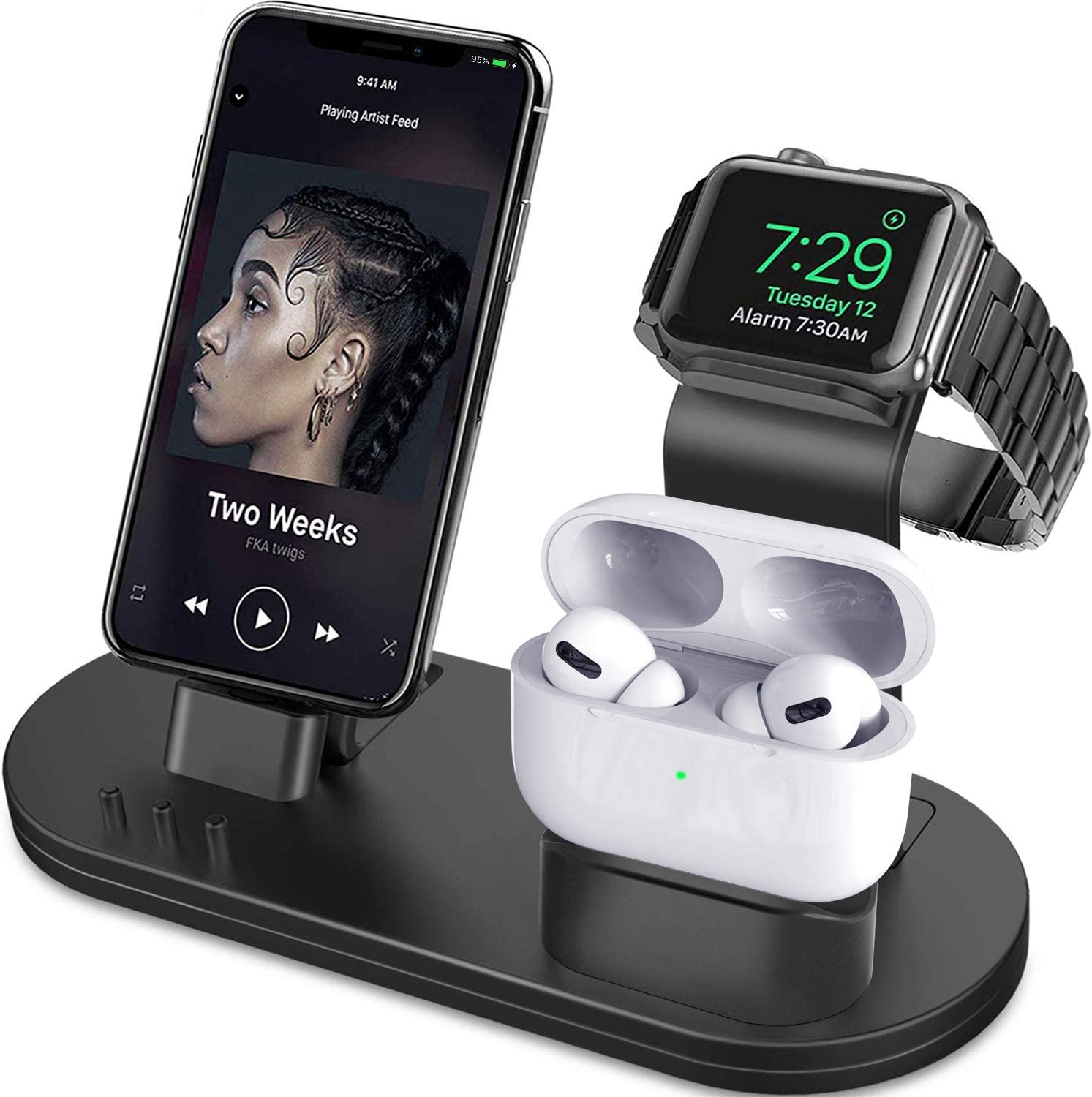 Amazon Com Olebr 3 In 1 Charging Stand Compatible With Iwatch Series 6 Se 5 4 3 2 1 Airpods Pro And Iphone Series 12 11 Series Xs X Max Xr X 8 8p 7 7p 6s 6s Plus Original Charger Cables Required Black