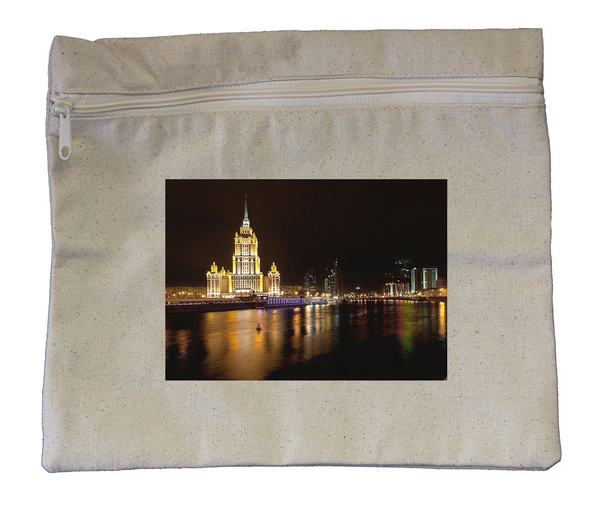 Canvas Zipper Pouch Tote Bag 10''X12'' World Trade Center Ukraina Hotel Moscow