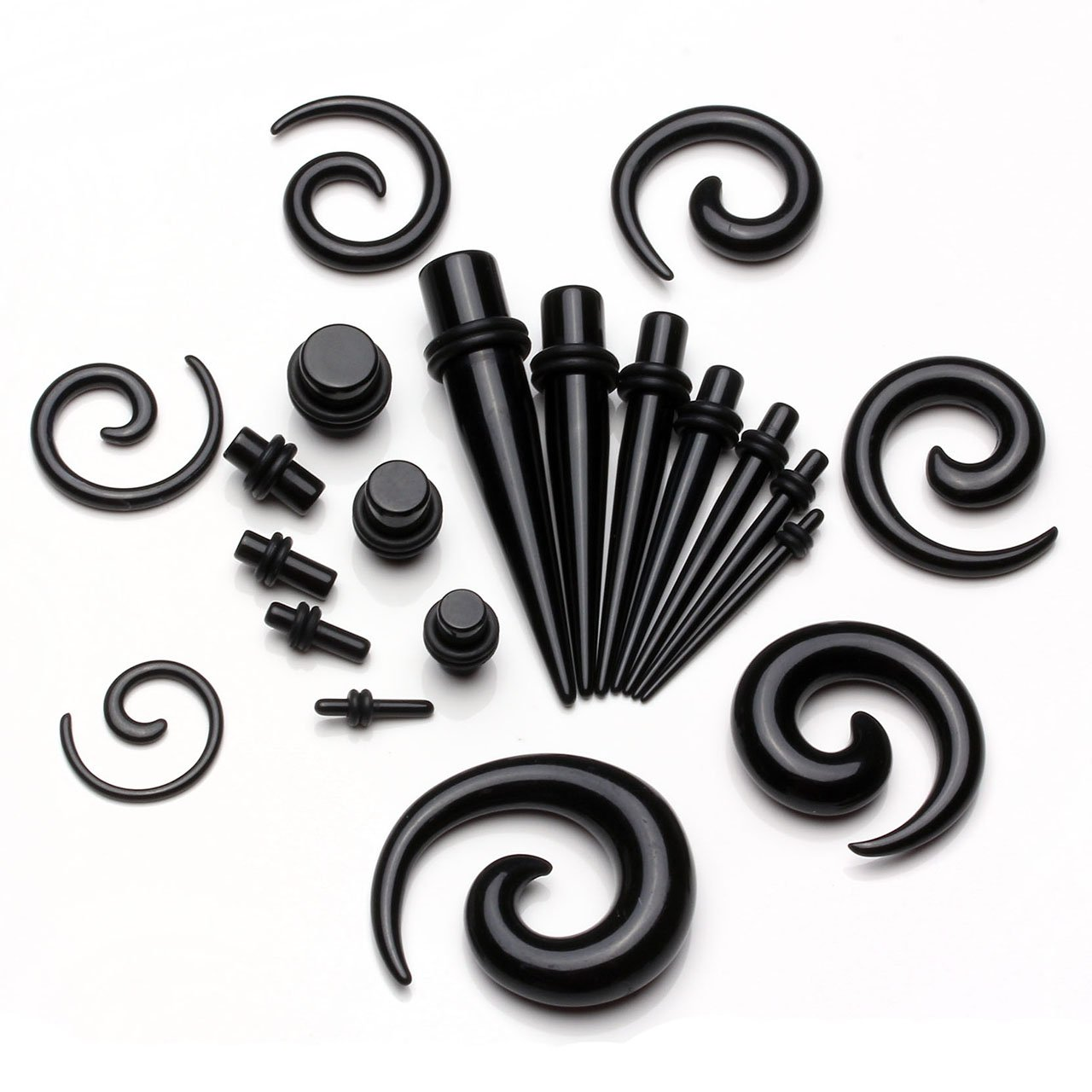 BOPREINA Ohrpiercing Set 21 Paare Acryl 2-10mm Knochenstab Straight Plug Set Schnecke Tupfen Spirale Taper Tunnel Set Dehnstab Dehnungsset Ohr Expander Piercing Set Unisex Punk, Schwarz/Weiß (Schwarz)