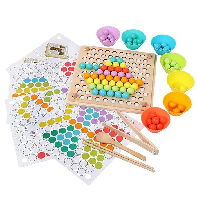 Juguetes de Madera NiñOs, Tablero Montessori, Puzzles Infantiles Años, Juguete Educativo Montessori, EducacióN Temprana Palillos Cuentas Rompecabezas Manos Cerebro Entrenamiento Juego de MatemáTicas