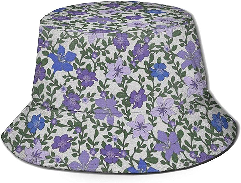 Bucket Hat Rose and Hubble Ivys Flowers Purple Sun Hats Breathable Fisherman Protection Hats for Fishing Beach Hiking Camping Gardening Boating