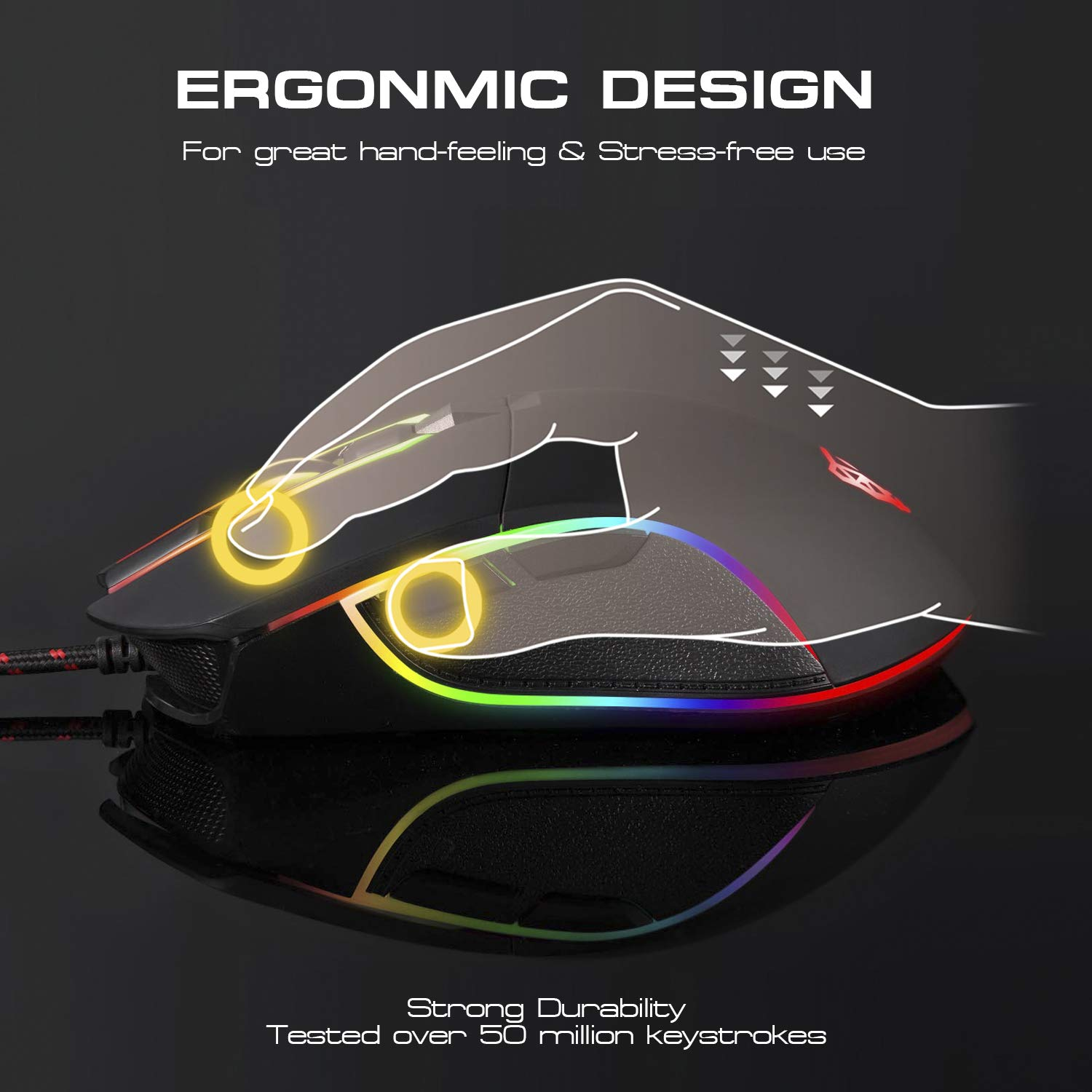 MOTOSPEED USB Wired Gaming Mouse 16.8 Million RGB Backlit 6 Button 3500 DPI Support Macro Programminge,Ergonomic Optical PC Computer Gaming Mice