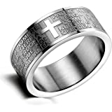Flongo Men's Womens Vintage Stainless Steel Pmm Wide Cross Lord's Prayer Band Ring