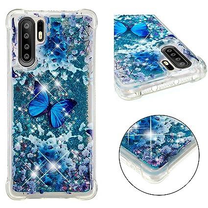 Abuenora Huawei P30 Pro Funda Purpurina, Carcasa Antigolpes 360 Transparente Silicona con Líquido Agua Lentejuelas TPU Case Dibujo Mariposa