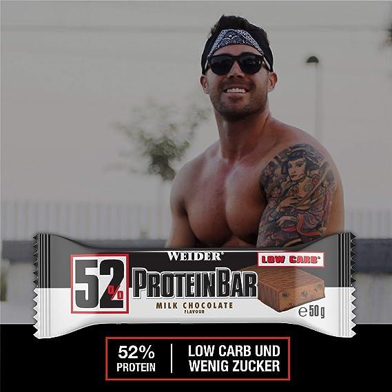 Weider 52% Barritas de Proteínas Chocolate - 50 gr. Barrita con 52% de proteína. Baja cantidad de azúcares.