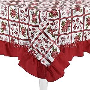 Prezisa - Mantel navideño de algodón teñido con Borde aplicado, Estampado Rectangular para Decorar la Mesa en Navidad, Mod. Countrychic.: Amazon.es: Hogar