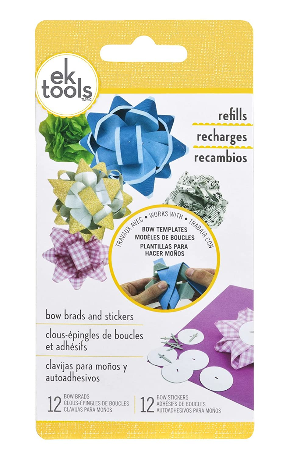 EK tools 54-07002 12 Count Handmade Gift Bow Brads and Stickers EKTools