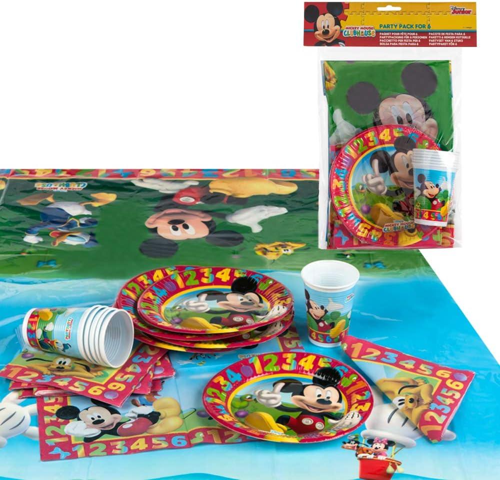 Disney - Pack de fiesta reciclable Mickey: mantel, platos, vasos, servilletas (71917)