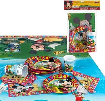 Disney - Pack de fiesta reciclable Mickey: mantel, platos, vasos, servilletas (71917): Amazon.es: Juguetes y juegos